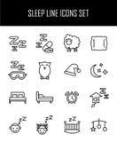 Ensemble d'icônes de sommeil dans la ligne style mince moderne Photographie stock