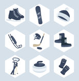 Ensemble d'icônes de sport d'hiver Photos stock
