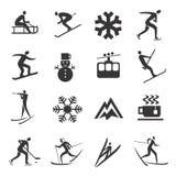 Ensemble d'icônes de sport d'hiver Photos libres de droits