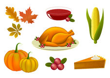 Ensemble d'icônes de thanksgiving Image stock