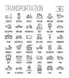Ensemble d'icônes de transport dans la ligne style mince moderne Image stock