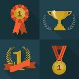 Ensemble d'icônes de trophée et de récompenses Image stock