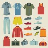 Ensemble d'icônes de vêtements et d'accessoires d'hommes de mode Photo stock