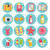 Ensemble d'icônes de vacances d'été Photo libre de droits