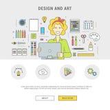 Ensemble d'icônes de vecteur pour la fille et les accessoires de concepteur pour la conception Image stock