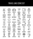 Ensemble d'icônes de voyage dans la ligne style mince moderne Photographie stock libre de droits