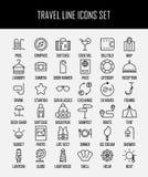 Ensemble d'icônes de voyage dans la ligne style mince moderne Image stock