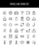 Ensemble d'icônes de voyage dans la ligne style mince moderne Image libre de droits