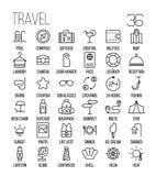 Ensemble d'icônes de voyage dans la ligne style mince moderne Photographie stock