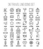 Ensemble d'icônes de voyage dans la ligne style mince moderne Photo libre de droits