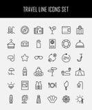 Ensemble d'icônes de voyage dans la ligne style mince moderne Images libres de droits