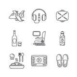 Ensemble d'icônes de voyage de vecteur dans le style de croquis Photographie stock