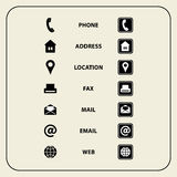 Ensemble d'icônes de Web pour des cartes de visite professionnelle, des finances et la communication de visite Images libres de droits