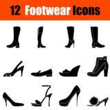 Ensemble d'icônes des chaussures de la femme illustration stock