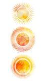 Ensemble d'icônes des soleils avec différents rayons illustration stock