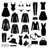 Ensemble d'icônes des vêtements des femmes Images stock