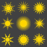 Ensemble d'icônes du soleil de vecteur Photos libres de droits
