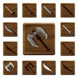 Ensemble d'icônes en bois de bande dessinée colorée avec de divers types d'armes de différents métaux et matériaux pour la concep illustration de vecteur