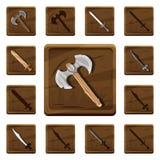 Ensemble d'icônes en bois de bande dessinée colorée avec de divers types d'armes de différents métaux et matériaux pour la concep illustration stock