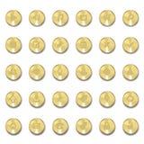 Ensemble d'icônes en métal avec des ombres sur les cercles d'or Photos stock