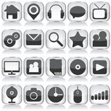 Ensemble d'icônes en verre de Web Photographie stock libre de droits