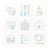Ensemble d'icônes et de concepts d'éducation de vecteur dans la ligne style mince mono Photos libres de droits