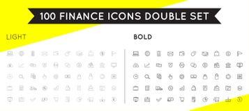 Ensemble d'icônes et de paiements minces et audacieux d'argent de finances de vecteur et illustration libre de droits