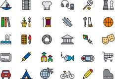 Ensemble d'icônes extérieures de loisirs Image stock