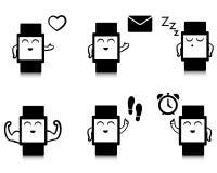Ensemble d'icônes futées mignonnes de montre Images stock