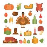 Ensemble d'icônes géométriques plates colorées pour le jour de thanksgiving illustration libre de droits