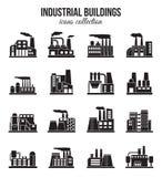 Ensemble d'icônes industrielles de bâtiments d'usine réglées