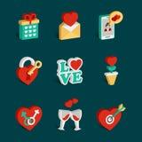 Ensemble d'icônes isométriques plates de jour de valentines Photo libre de droits