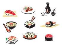 Ensemble d'icônes japonaises de fruits de mer Images stock