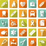 Ensemble d'icônes médicales dans le style plat Image libre de droits