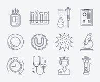 Ensemble d'icônes médicales - don du sang Image stock