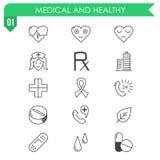 Ensemble d'icônes médicales et saines sur le fond blanc Photographie stock libre de droits