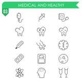 Ensemble d'icônes médicales et saines sur le fond blanc Images stock