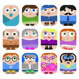 Ensemble d'icônes mignonnes de famille Photographie stock