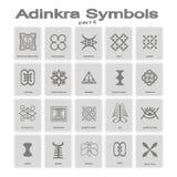 Ensemble d'icônes monochromes avec des symboles d'adinkra illustration de vecteur