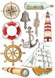 Ensemble d'icônes nautiques d'isolement Photos libres de droits