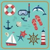 Ensemble d'icônes nautiques et marines Images stock