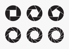 Ensemble d'icônes noires d'ouverture d'objectif de caméra Photographie stock