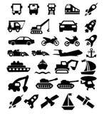 Ensemble d'icônes noires de transport Images stock
