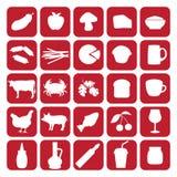 Ensemble d'icônes noires de type différent de nourriture Images libres de droits