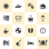 Ensemble d'icônes noires de voyage et de tourisme Photographie stock