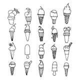 Ensemble d'icônes noires et blanches de crème glacée  Photo stock