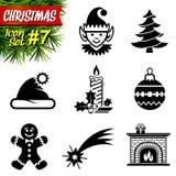 Ensemble d'icônes noires et blanches de Noël Photographie stock libre de droits
