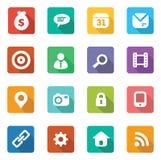 Ensemble d'icônes plates à la mode Image libre de droits