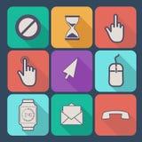 Ensemble d'icônes plates Image libre de droits