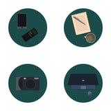 Ensemble d'icônes plates au sujet de media, icônes d'actualités Image libre de droits